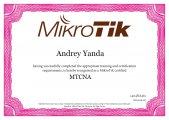 Андрей Янда - Сертифицированный специалист MTCNA